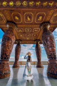 Woman standing at viewpoint on Doi suthep, Chiang Mai.